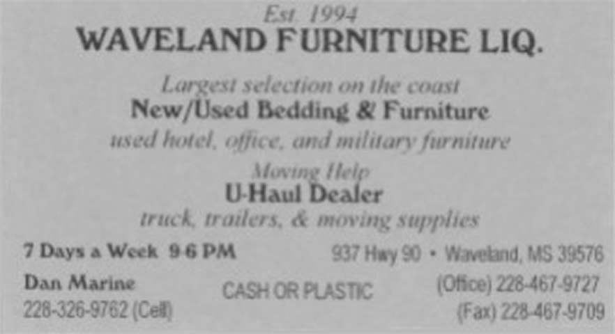 Show Ad. Waveland Furniture LIQ.
